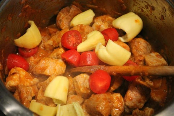 Add tomatoes and green peppers