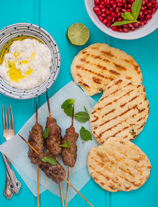 lamb skewers yoghurt flatbread