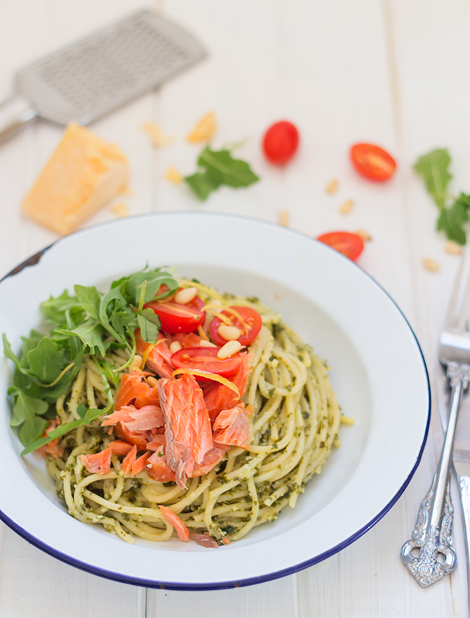 Kale Pesto Spaghetti with Ocean Trout