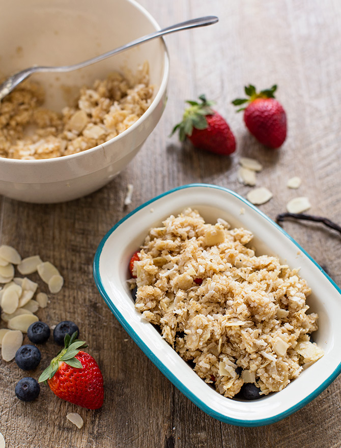 Healthy Berry, Coconut and Quinoa Crumble