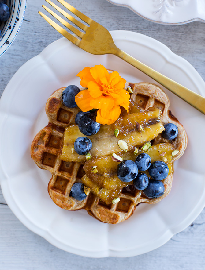 Banana Rye Waffles with Caramelised Banana and Blueberries