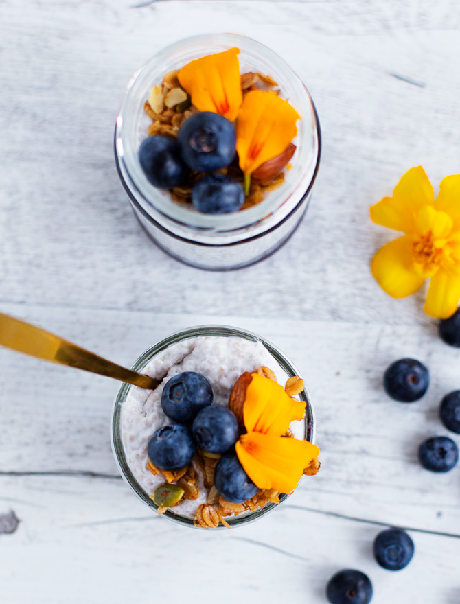 Blueberry Chia Jam with Coconut Chia Pudding