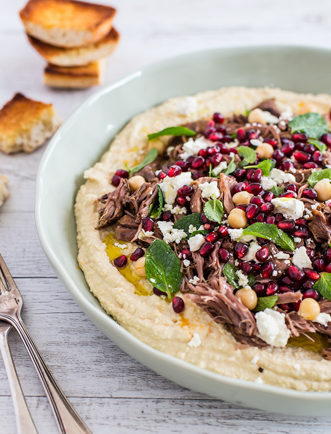 Slow Cooked Lamb with Homemade Hummus