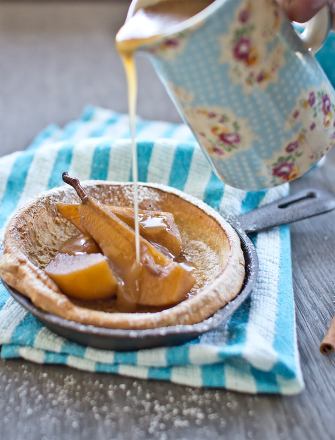 Dutch Baby with Chai Poached Pears and Caramel