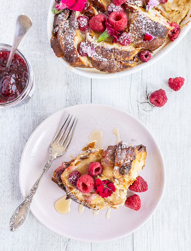 Raspberry and Ricotta Baked French Toast