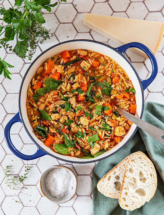 Chunky Chicken Vegetable Orzo Soup