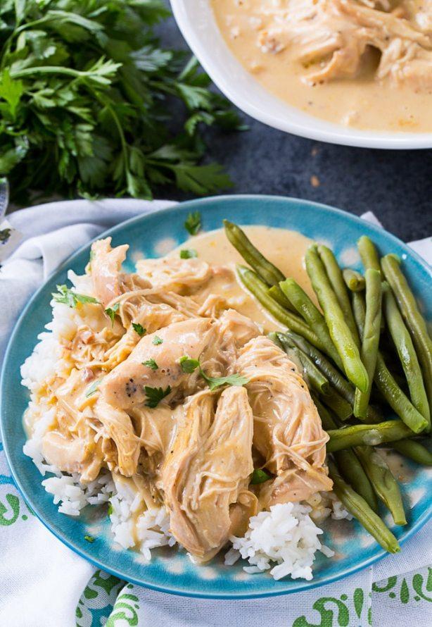 Crock Pot Chicken and Gravy over white rice recipe