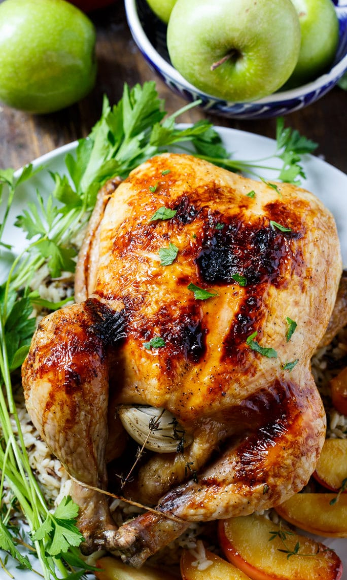 Apple Cider Glazed Roasted Chicken Recipe | Spicy Southern Kitchen