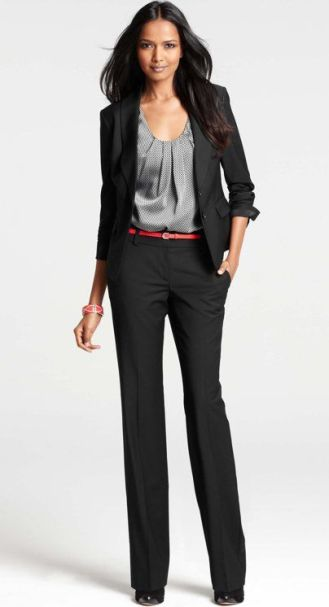 If you don't like skirts, you're in luck! Business professional outfits also allow for pants instead of a skirt. Just make sure it covers the midway point of your shoes.
