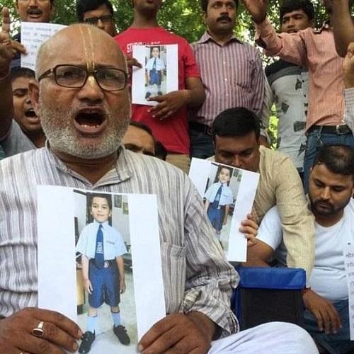 pradyumn murder case and protest at jantar mantar