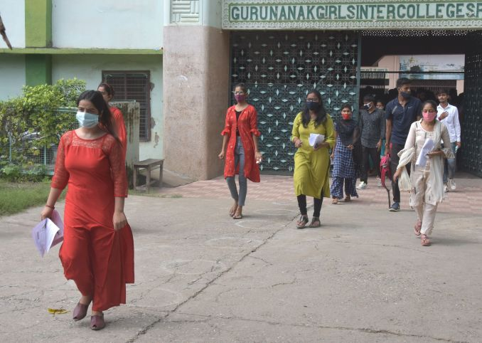 Students coming out of Guru Nanak Girls Inter College after giving PET exam