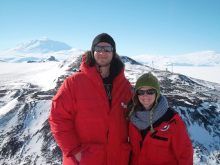 Lorenzo and me, with Mt. Erebus in the background.
