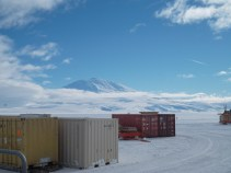 Mount Erebus in partial cloud cover and CARGO. We were so excited when new sea containers arrived.