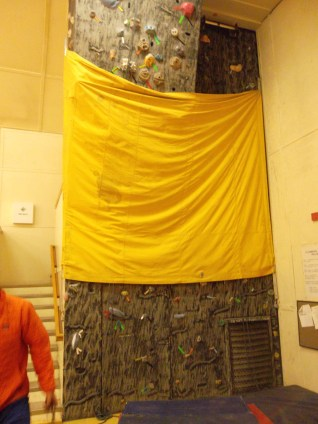 "Climbing wall at the ""Big Gym""."