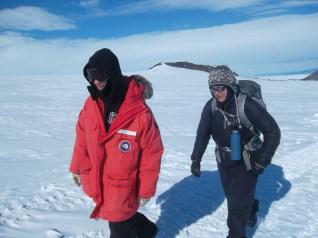 Erik and Sasha trek through the loose snow.