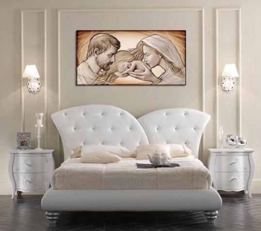Mazzola luce capezzale classico sacra famiglia quadro per camera da letto stampa su tela 70x40 made in italy. Quadri Sacri Online Classici E Moderni Spidersellitalia