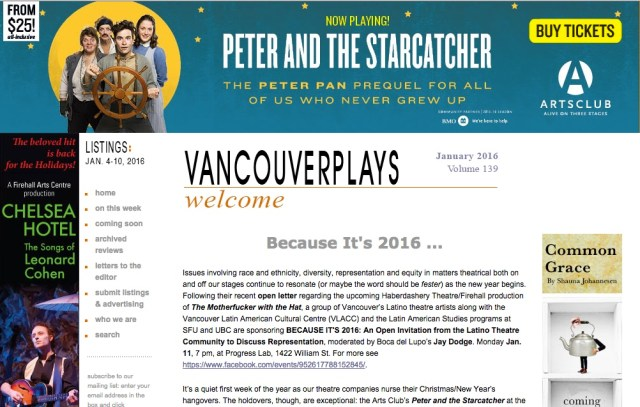 VancouverPlays Hompage