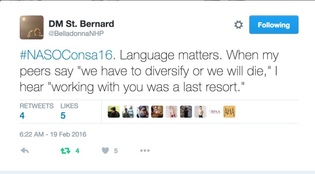 Tweet sent by Donna-Michelle St. Bernard at the 2016 NASO Conference.
