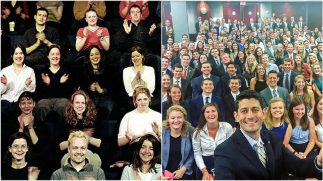 Two pictures set side by side. The right image is of an audience of white folks, smiling and clapping. The left image is a selfie taken by Paul Ryan and his very large team of all-white interns.