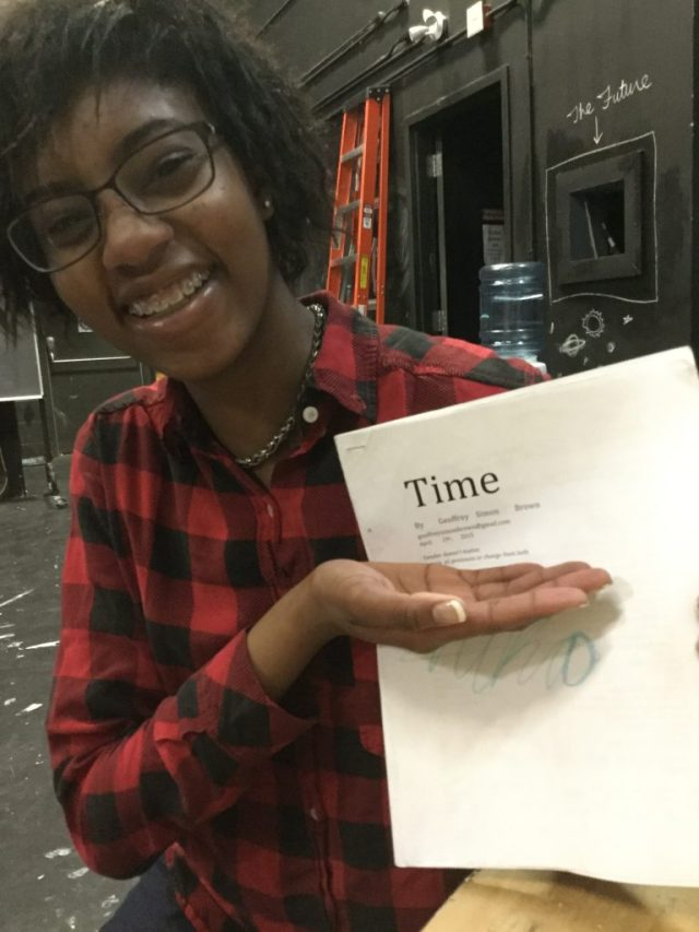 Nika holding the script for Time by Geoffrey Simon Brown