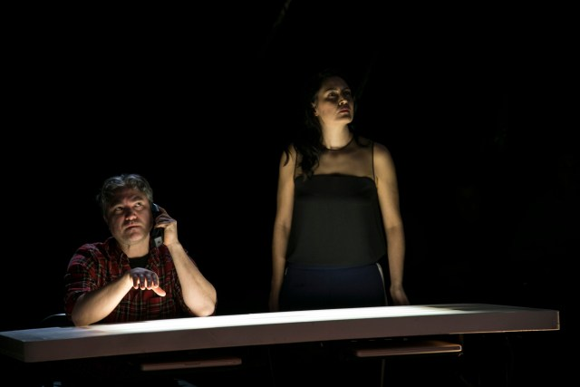 "Kevin Loring and Quelemia Sparrow in Act 1 of ""The Pipeline Project"". Photo by Matt Reznek."