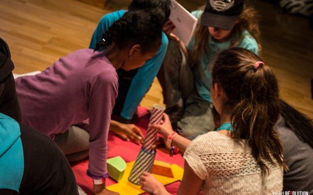 "Kids engaging with their first assignment as co-designers in ""Me on the Map"". Photo by Matt Reznek."