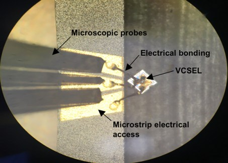 Microscope view of the 850-nm VCSEL electrical connection.