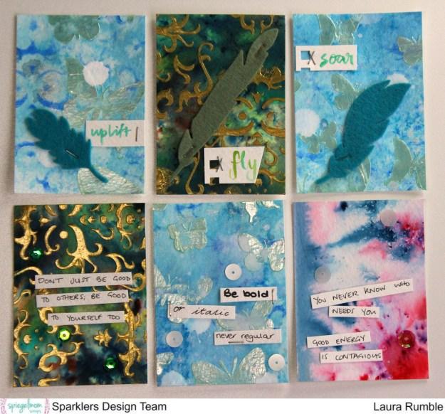 @spiegelMomScraps @ShimmerzPaints #spiegelMomScraps #shimmerzpaints #artisttradingcards #ATC #sequin