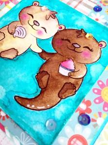 @spiegelmomscraps @jodyspiegelhoff @prettycutestamps @janedavenport @michaelsstores, #spiegelmomscraps #michaelsstores #janedavenport #mermaidmarkers #sequins #cardmaking #watercolor #otters #stamping #papercrafting #happybirthday #birthdaycard #greetingcard