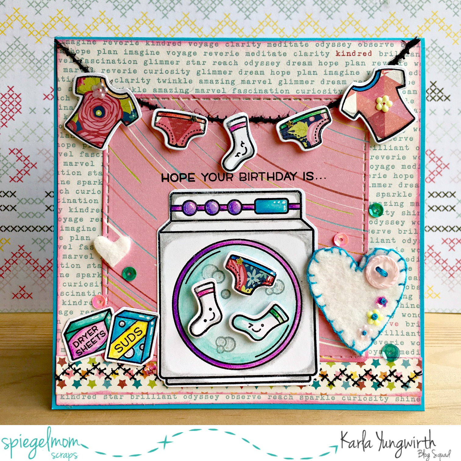 Creative Cards With Karla Stitched Laundry Birthday Card