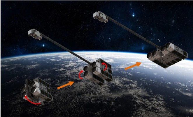 AAReSt concept showing how each CubeSat docks to form part of the modular satellite. Credit: AAReST collaboration