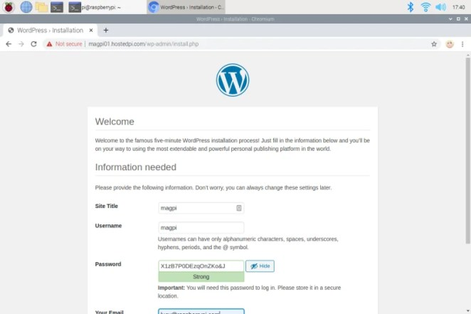 The WordPress login page running on a Raspberry Pi web server using PHP and HTML