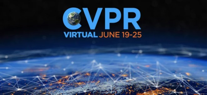 C V P R conference logo with dark blue background and the edge of the earth covered in scattered orange lights connected by white lines