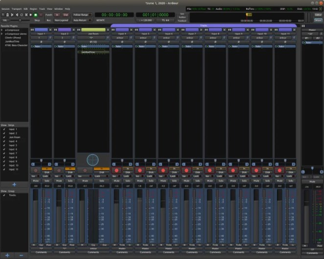 Mike's setup uses the Linux-based Ardour Mixer MIDI app