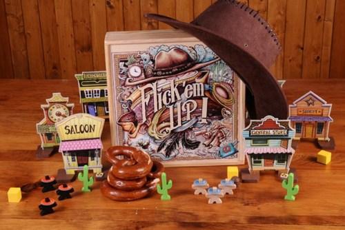 Brettspiel Flick em UP! Spielmaterial.