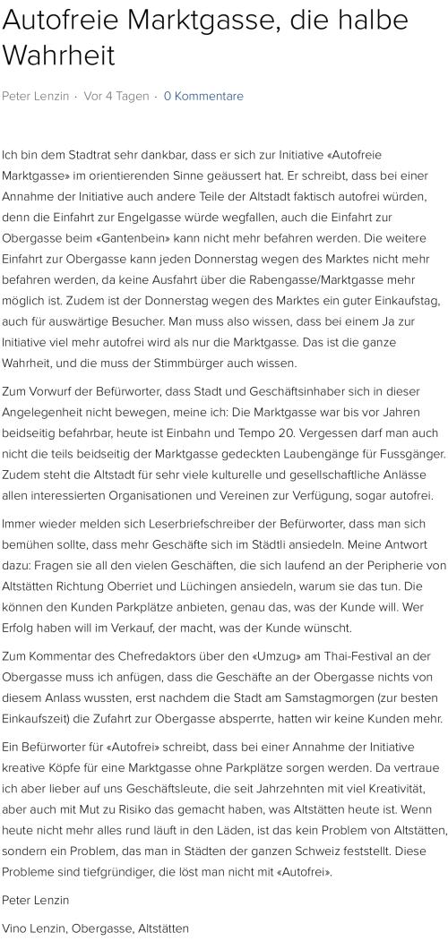 Bericht im Rheintaler | Autofreie Marktgasse, die halbe Wahrheit