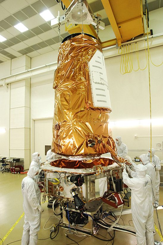 The telescope sits inside a satellitewhich is the size of ...
