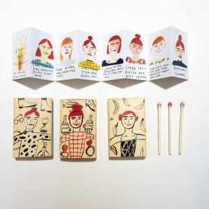 """Smokin' Hot Redheads Zine,"" 2015 Matchbook, ink, gouache. Xerox accordian fold zine. Matches."