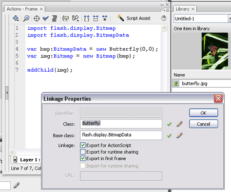 Attaching a bitmap in AS3