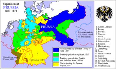 Europakartet var en anelse mer forvirrende på attenhundretallet. Her ser du grensene til kongeriket Preussen slik de utviklet seg gjennom århundret.