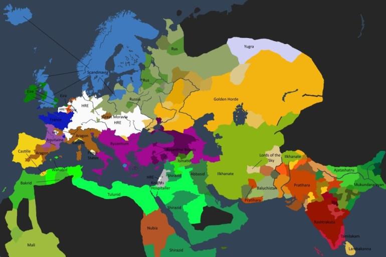 Det politiske kartet over den kjente verden i 1250.