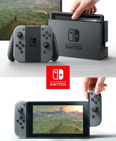 Nintendo Switch; Tavle, hjemmekonsoll-del og de avtagbare kontrollerne.