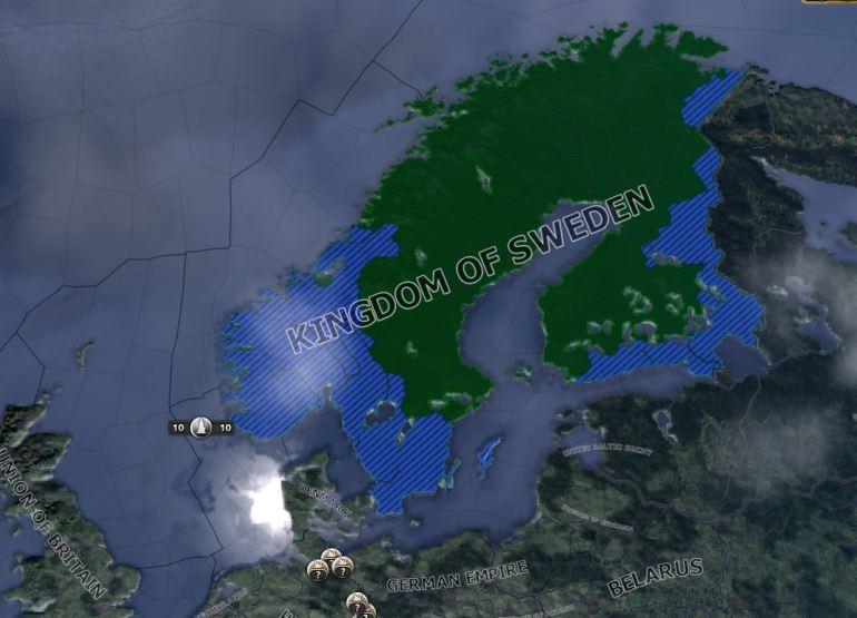 Byggingen av radarinstallasjoner er i gang i de blå områdene.