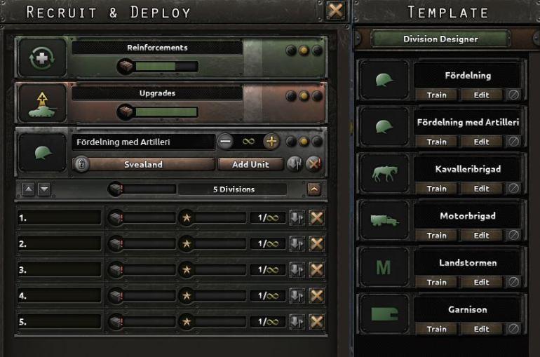 Vi bygger oss noen infanterienheter.
