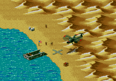 Her kan du lande for å slippe av passasjerene dine (Amiga).