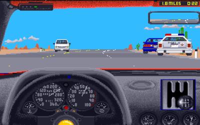 Test Drive II på Amiga. Det er denne versjonen tilbakeblikket tar utgangspunkt i, selv om jeg kommer innom andre versjoner også.