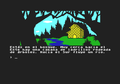 Et av spillene som ble laget med DAAD, La Aventura Original for Commodore 64. Dette er en grafisk utgave av originale Adventure.