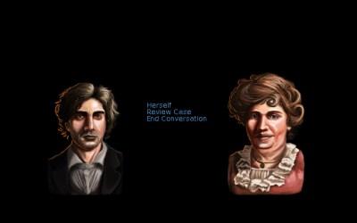 De fleste samtalene i spillet foregår i slike menyer. Mange av bifigurene har litt rare lepper(!), men ellers ser portrettene deres flotte ut.
