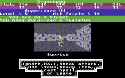 Spilleren møter et skjelett (mens det er regnvær). Bilde: Mobygames.