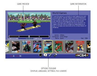 De innebygde spillene kan velges i denne karusellmenyen.